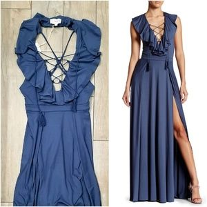 L'Atiste ruffle lace up maxi dress